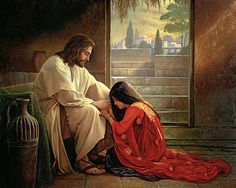 Jesus Acrylic Print featuring the painting Forgiven by Greg Olsen Images Du Christ, Pictures Of Jesus Christ, Christian Paintings, Christian Art, Greg Olsen Art, Arte Lds, Image Jesus, Marie Madeleine, Bibel Journal