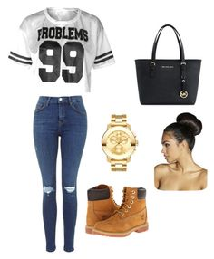"""""""99 problems"""" by abigailcrabtree ❤ liked on Polyvore featuring Movado, Boohoo, Michael Kors and Timberland"""