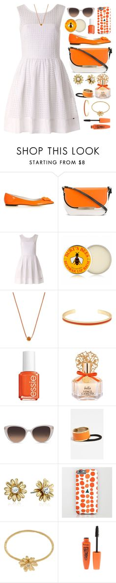 """""""Tangerine Dreams Outfit"""" by ohsosartorial on Polyvore featuring Versace, Salvatore Ferragamo, Tommy Hilfiger, Burt's Bees, Katie Rowland, Essie, Vince Camuto, Linda Farrow, L. Erickson and Kate Spade"""