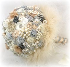 Brooch Bouquet Wedding Champagne Charcoal Gray Ivory Bridal Wedding Flowers Vintage Gatsby Style This decadent wedding brooch bouquet incorporates endless detail and exceptional materials. Unlike most brooch bouquets on the market, where the brooches are just inserted and not secured to a