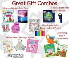 Gift Bundles! The perfect gifts to give to all the children you love. Pick a theme/topic, find a gorgeous, educational book (or 2-3) from the 1700+ Usborne & Kane Miller books on GinasUsborneZone.com & find a fun toy, game or unique gift that also pairs up with your theme. Voila! You created a perfect gift bundle package they'll never forget. Gift yr round- Christmas, birthdays, baby showers, Easter baskets, school achievements, homeschoolers or just because :)
