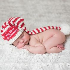My First Christmas Patch Candy Cane Striped Baby Elf Baby Stocking Hat Baby Christmas Hat, Baby Santa Hat, Santa Christmas, Crochet Christmas, Christmas Gifts, Baby Boys, Baby Boy Hats, Baby Stocking, Crochet Stocking