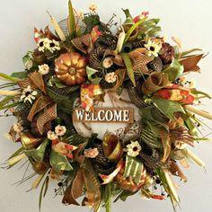 Fall Mesh Wreath  Deco Mesh Wreaths  Fall by ArtificialWreaths