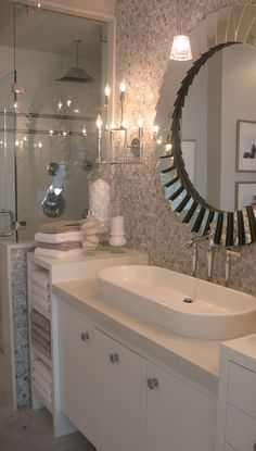 A beach-themed ensuite bathroom of a private residence. Countertops by Patra Stone Works Ltd. 4 Bedroom House Plans, Ensuite Bathrooms, Houzz, Corner Bathtub, Double Vanity, Countertops, Mirror, Stone, Bathroom Ideas