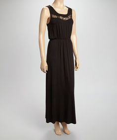 Loving this Black Lace Scoop Neck Maxi Dress on #zulily! #zulilyfinds