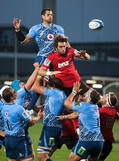Pierre Spies of the Bulls competes with Sam Whitelock of the Crusaders in a lineout during the round five Super Rugby match between the Crusaders and the Bulls at AMI Stadium on March 16, 2013 in Christchurch, New Zealand.