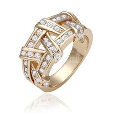 Accessories Rose Gold Cross Classic Crystal Ring