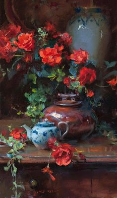 """""""Begonias and blue"""" By Daniel Gerhartz, from Wisconsin (b. 1965) - oil on canvas; 30 x 18 in -"""