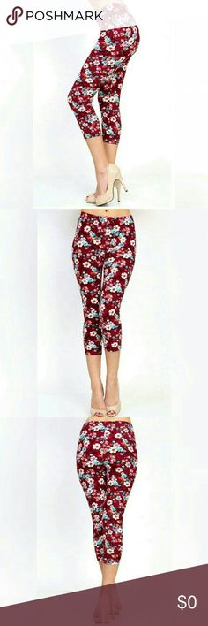 "🍁🍂FLORAL CAPRI LEGGINGS🍂🍁 GREAT FOR SUMMER AND FALL!  Wine floral mix leggings. Beautiful color combination. 16"" inseam. Soft and comfortable.   One Size Fits Most. Can fit up to a Size 13. Threadzwear Pants Leggings"
