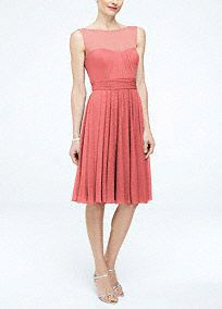 Your bridesmaids will give this short and chic dress a fierce and fiery attitude!  Sleeveless mesh bodice features ultra-feminine sweetheart illusion neckline.  Ruched waist helps create a stunning silhouette.  Short flowy skirt hits right above the knee.  Fully lined. Back zip. Imported polyester. Dry clean only. To protect your dress, try our Non Woven Garment Bag.