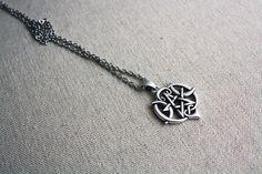 Triple Moon Goddess Pentagram Necklace  Pentagram Choker by Taypop