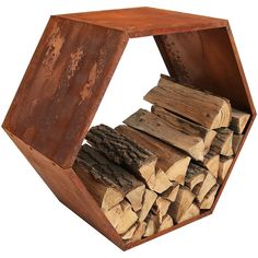 This firewood log rack holder will add charming rustic style to any outdoor fire pit area. The log holder is made from a durable cold-rolled steel construction with an oxidized finish that completes the Firewood Logs, Firewood Holder, Firewood Storage, Indoor Firewood Rack, Outdoor Storage Sheds, Shed Storage, Storage Rack, Fire Pit Ring, Log Holder