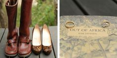 Old world safari styles were inspirations behind this magical ceremony. The groom's leather boots, the bride's cheetah print heels and a copy of Out of Africa by Isak Dinesen were splendid touches! | African Safari Wedding | Sarah Marie Photos