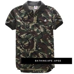 Rock those streets with BAPE Camo! A Bathing Ape Camouflage Soldier Polo Shirt | http://streetwearmuse.com/polo-shirts/a-bathing-ape-bape-apee-camo-polo-foot-soldier-shirt #BAPE #ABAthingApe #poloshirt #urbanwear #streetfashion #streetwear