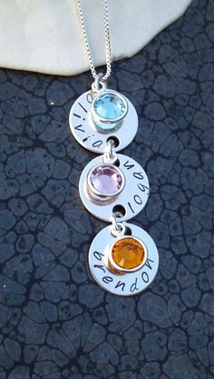 Hand stamped sterling silver birthstone by DawnsMetalDesigns, $30.00