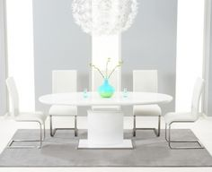 497f3346e0e7 Mark Harris Seville White High Gloss Oval Butterfly Extending Dining Set  with 6 Ivory White Malibu Chairs - 160cm-200cm
