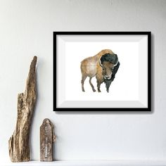 Bison art print of  original watercolor painting by TheJoyofColor