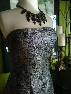 Vintage Inspired Silver Black Metallic Brocade Cocktail dress evening gown