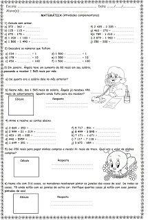 Blog Educacional (Profª. Jezaine): Adição e Subtração 4º Ano Abacus Math, Math Quotes, Chemistry Notes, Maths Solutions, Printable Math Worksheets, Context Clues, Math Facts, Write It Down, Management Tips