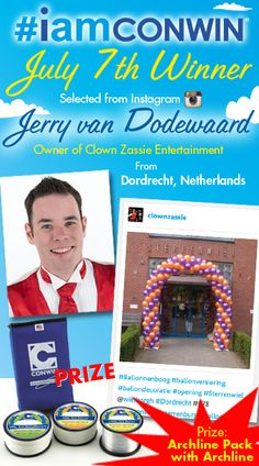 And our July 7th ‪#‎iamconwin‬ Giveback Giveaway winner of Conwin's Archline Pack and Archline is......  Jerry van Dodewaard, owner of Clown Zassie Entertainment from Dordrecht, Netherlands! Selected from Instagram. Congratulations Jerry!  Who will be the July 24th winner of the Triple Speed Inflator with Starbucks Gift Card?  Learn more at: www.iamconwin.com