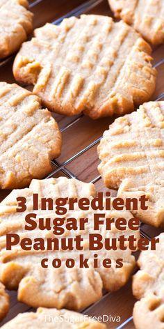Sugar Free Peanut Butter Cookies, Sugar Free Cookie Recipes, Sugar Free Deserts, Peanut Butter Snacks, Sugar Free Baking, Sugar Free Sweets, Peanut Butter Cookie Recipe, Diabetic Friendly Desserts, Diabetic Recipes
