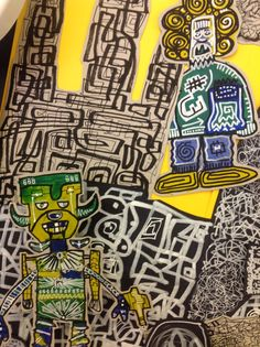 Detail from after school club project with Mike Barret- feel lie this could tie in with some JM Basquiat