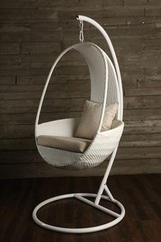 Suspension Chair Five (белое) - дизайнерское подвесное кресло. Ротанг.
