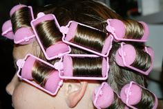 Sleeping in Pink Sponge Rollers! Rolled in Dippity Do!