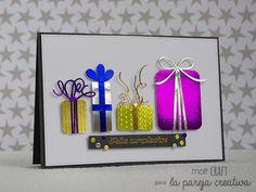 Por Susana Artacho ( Molt Craft). Tarjeta de Navidad usando troqueles de La Pareja Creativa). Nice and glossy Christmas card.