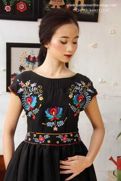 Our Iconic Series. Batik Amarillis' hey day dress in spectacular Hungarian folk embroidery . Hungarian Embroidery, Folk Embroidery, Embroidery Patterns, Folk Fashion, Ethnic Fashion, Womens Fashion, Amarillis, Mexican Dresses, Fashion And Beauty Tips