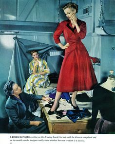 I'm in love with this photo (1951). #vintage #fashion_design #1950s #sewing