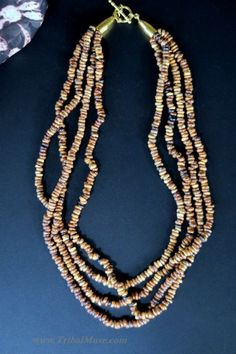 Contemporary Multi-Strand Necklace handcrafted in Mali Africa of organic Kekeore seeds.