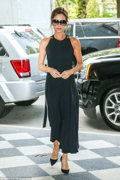 Make way: Victoria Beckham once again caught the eye on Monday afternoon as she stepped out in New York City, hours after dazzling crowds at the Social Good Summit the previous day