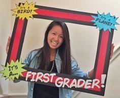 Superhero Back To School Frame Superhero themed classroom? You NEED to create this back to school fr First Grade Classroom, School Classroom, Classroom Themes, Superhero Classroom Decorations, Superhero Bulletin Boards, Classroom Helpers, Future Classroom, 1st Day Of School, Beginning Of School
