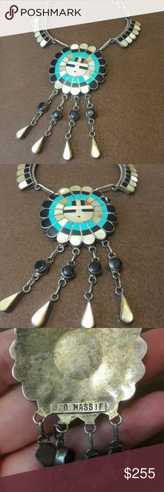 Zuni Signed Sterling Inlaid SunGod Necklace Vintage circa 50's Sungod inlaid stone jet, Turquoise, MOP, and Coral. Open link chain, Sterling Silver signed  JD Massie. Vintage Jewelry Necklaces