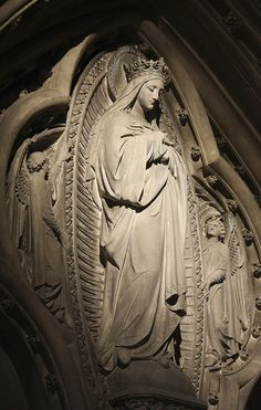 This stone carving of the Immaculate Virgin is in the church of Our Lady and the English Martyrs in Cambridge. Blessed Mother Mary, Divine Mother, Blessed Virgin Mary, Catholic Art, Catholic Saints, Religious Art, Madonna, Statues, Images Of Mary