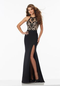 Fitted Jersey Prom Dress with High Scoop Neckline and Beaded Net Bodice 8e9fab6a1b7b