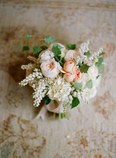 Love the soft pink and white flowers in this gorgeous #wedding bouquet! From http://snippetandink.com/classic-garden-wedding-at-san-ysidro-ranch/  Photo Credit: http://kissthegroom.com/  Florals by http://mindyrice.com/