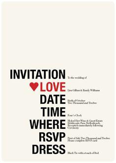 Wedding Invitation & RSVP Retro Hearts Red Cream Black Funky - Printable Designs