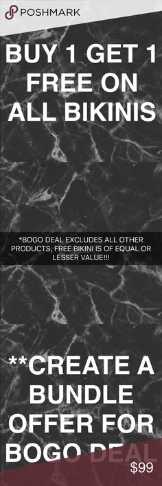 BOGO DEAL IN LIGHT OF ALL THE SALES ONLINE!!! EARLY BLACK FRIDAY STARTS HERE!!! BUY ONE GET ONE FREE ON ALL BIKINIS, JUST CREATE BUNDLE OFFER LISTING WITH PRICE OF THE HIGHER BIKINI. OFFER ONLY VALID ON BIKINIS, NOT VALID ON ANY OTHER PRODUCTS IN BOUTIQUE! ASK ANY QUESTIONS IN THE COMMENTS SECTION OF THIS POST!!! ❤️ acacia swimwear Swim Bikinis