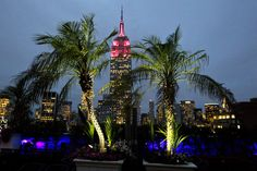 Two mighty palms stretch out at the 230 Fifth Rooftop Bar, where 60 of the specially imported tropical trees have been displayed every summe...