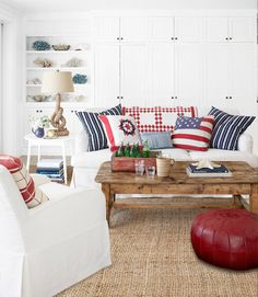 Patriotic living room decor.
