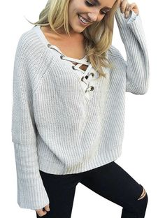 222abcdba33 Flare Sleeve Knitted Sweater Women Lace Up V Neck Pullovers Sexy Pink Jumpers  Casual Loose Split Knitwear Outwear
