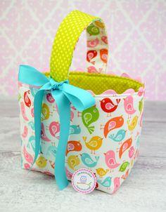 NEW Easter Basket Fabric Storage Container Bin-  Hello Birds White Hello Sunshine by Lori Whitlock Riley Blake. $24.00, via Etsy.