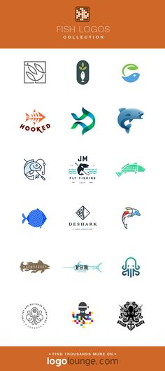 Logo Collection : Fish vector logo designs. Water, fins, tails, swim, marine life, octopus, squid. #logo #fish