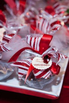 Pretty favors at a Christmas holiday party! See more party planning ideas at CatchMyParty.com!