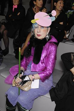 Anna Piaggi in purple.