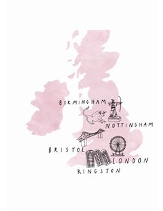 Illustrated map by Ryn Frank www.rynfrank.co.uk, type, hand lettering, typography, map, Britain, England, illustration