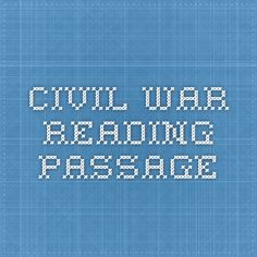 Civil War reading passage