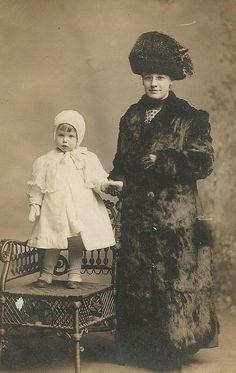 winter mom and child circa 1900